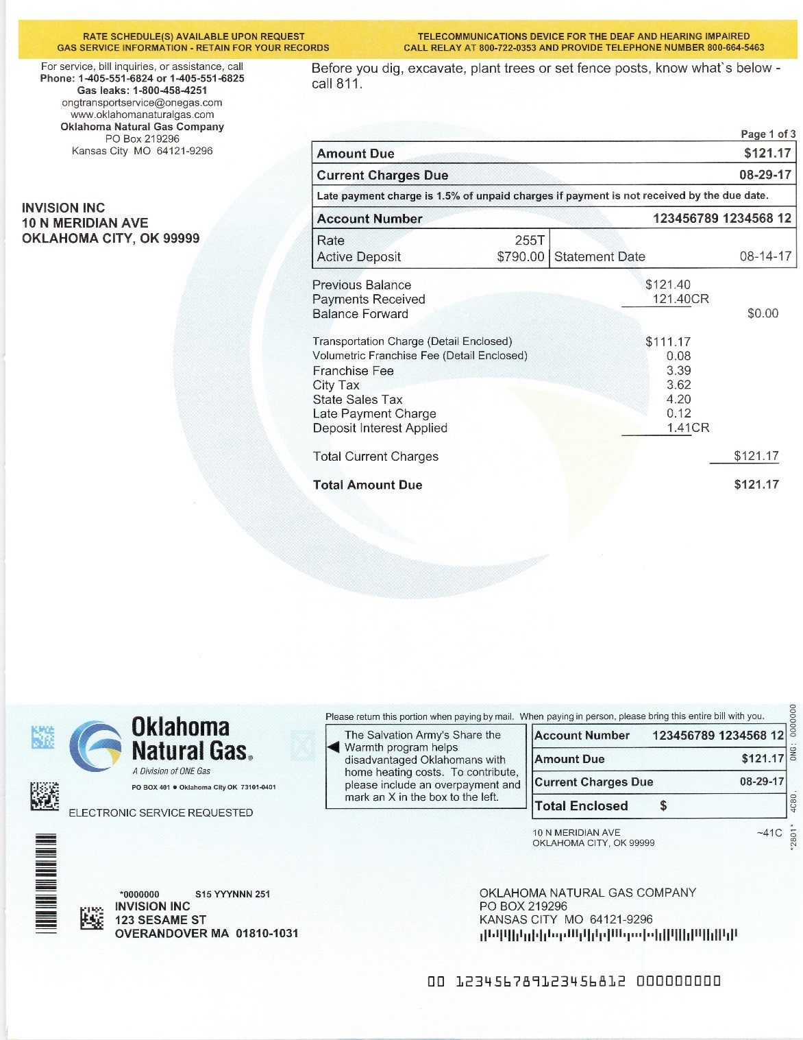 Oklahoma Natural Gas New Bill Design